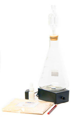 Yeast starter kit with erlenmeyer flask, stir plate, and accessories