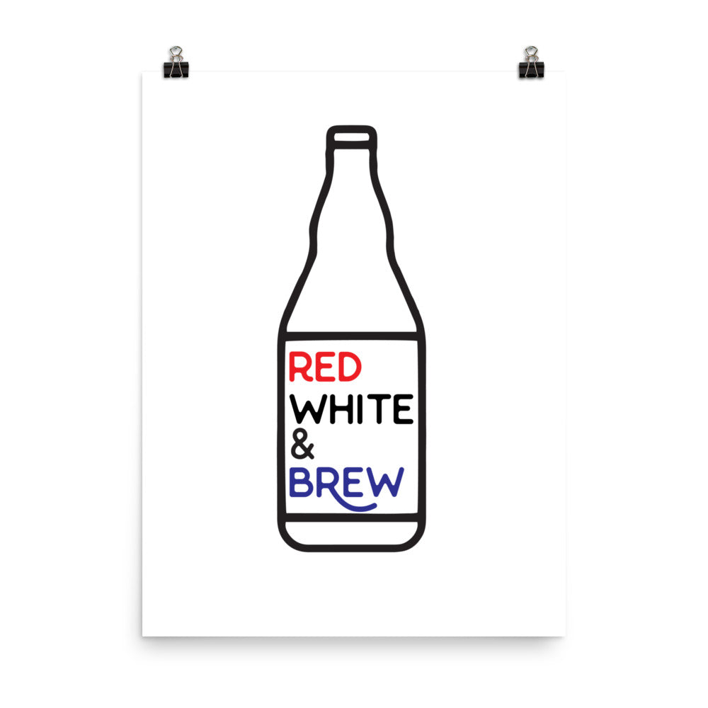 Red, White, & Brew Poster - Homebrewsy.com