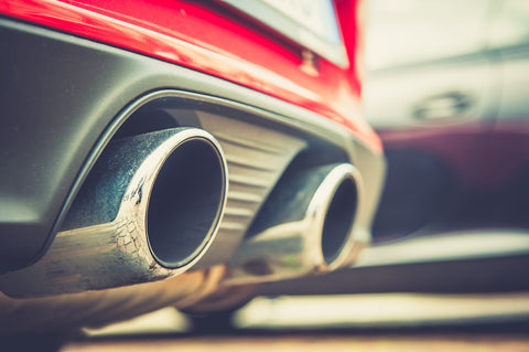 Exhaust pipes on a red car