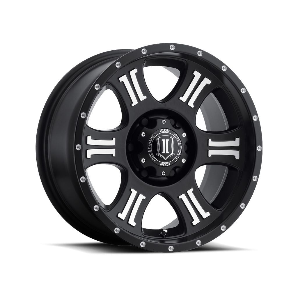 "ICON ALLOYS SHIELD SAT BLK MACH - 17 X 8.5 / 6 X 135 / 6MM / 5"" BS"