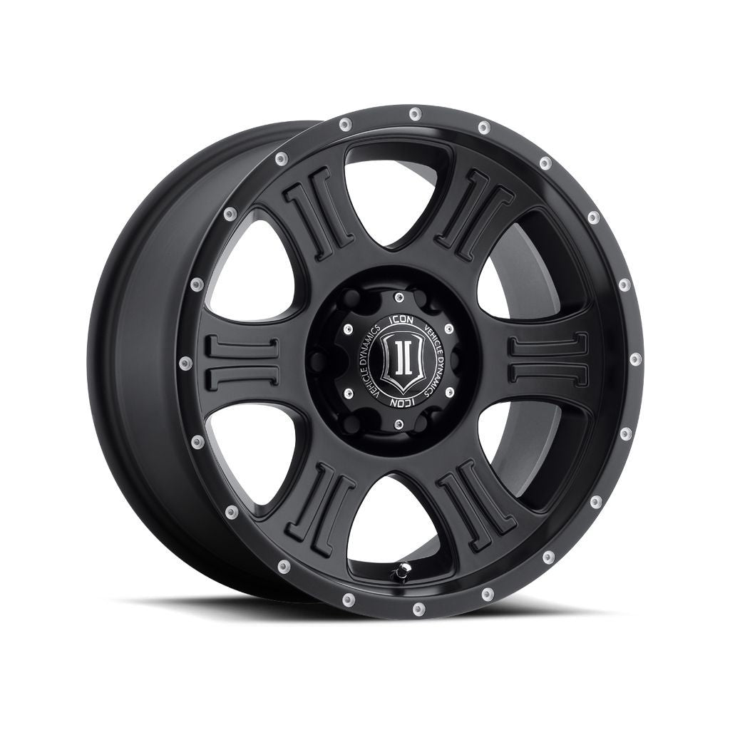 "ICON ALLOYS SHIELD SAT BLK - 17 X 8.5 / 5 X 5 / 0MM / 4.75"" BS"