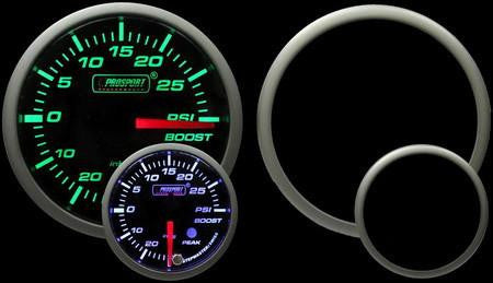 ProSport Boost Gauge Electrical w/Sender Green/White 52mm 216SMWGBOSWL270-PK.PSI - HPTautosport