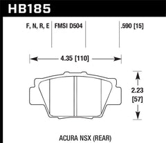 Hawk HPS Brake Pads - NSX - REAR - 1991-2005 - HB185F.590