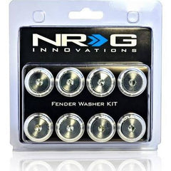 NRG Innovations Fender Washer Kit, Set of 8, Silver with Color Matched Bolts, Rivets for Plastic FW-800SL - HPTautosport