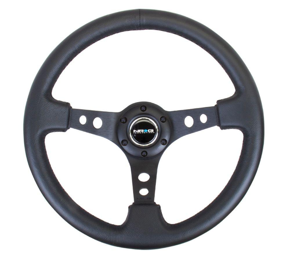 NRG Innovations 350 mm Sport Reinforced Steering 3' Deep Dish  Style Steering Wheel Leather RST-006BK