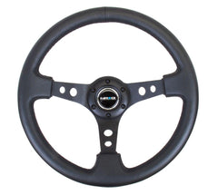 NRG Innovations 350 mm Sport Reinforced Steering 3' Deep Dish  Style Steering Wheel Leather RST-006BK - HPTautosport