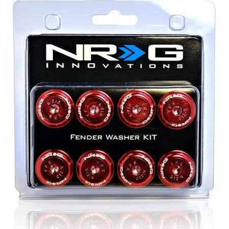 NRG Innovations Fender Washer Kit, Set of 8, Red with Color Matched Bolts, Rivets for Plastic FW-800RD - HPTautosport
