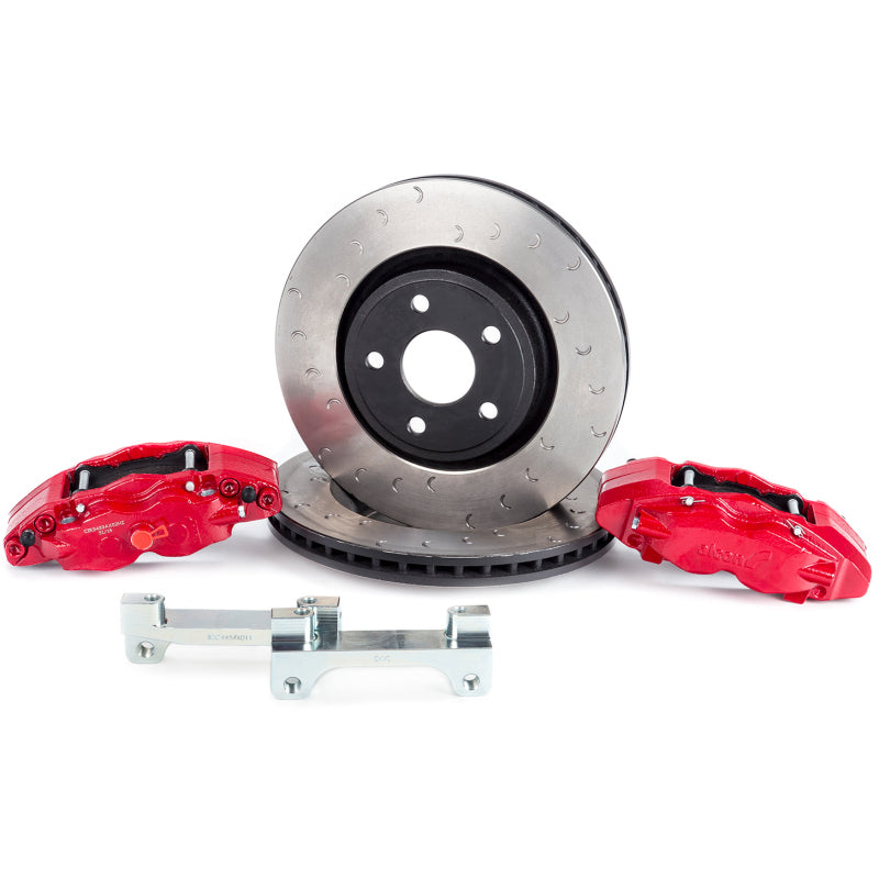 Alcon 07+ Jeep JK w/ 5x5.5in Hub 357x32mm Rotor 4-Piston Red Calipers Front Brake Upgrade Kit