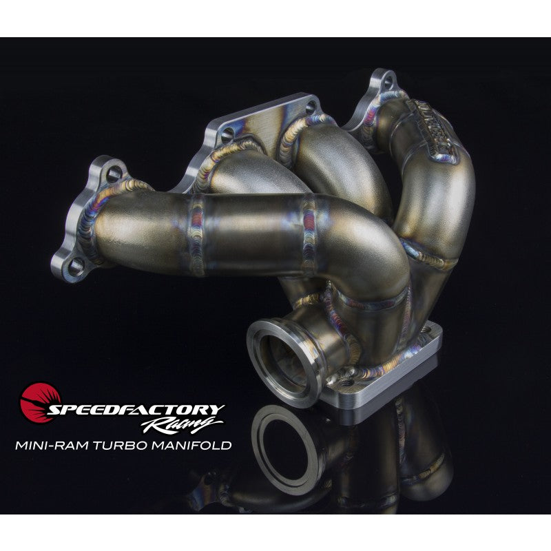 SpeedFactory Stainless Steel Turbo Manifold Mini Ram Style D Series T3 Flange w 38-40mm 2 Bolt WG SF-04-013