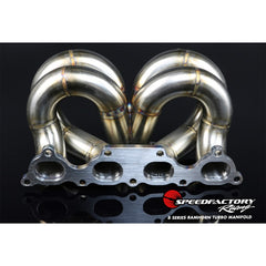 SpeedFactory Stainless Steel Turbo Manifold Ram Horn Style B Series T3 Flange w 44-46mm V-Band WG SF-04-002