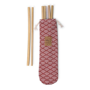 Made in France pouch including 6 bamboo straws and one cleaning brush