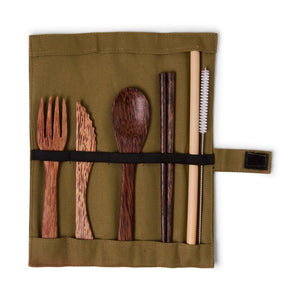 Nomad coconut tree wood cutlery set