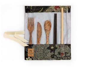 Set de couverts made in France ed. Batik 2020 noir bois de cocotier baguettes