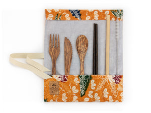 Set de couverts made in France ed. Batik 2020 ocre bois de cocotier baguettes