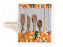 Load image into Gallery viewer, Set de couverts made in France ed. Batik 2020 ocre bois de cocotier cuillère