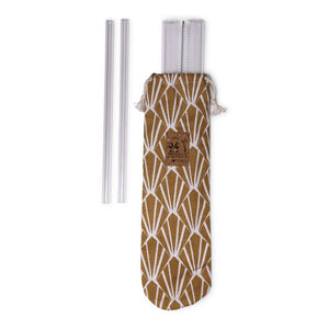 Pouch with 6 glass straws and 1 cleaning brush made in France