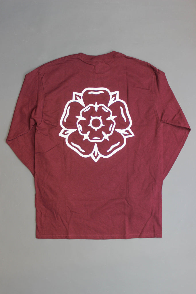 Don't Mess With Yorkshire Rose Long-sleeve T-shirt Burgundy - Endemic Skate Store