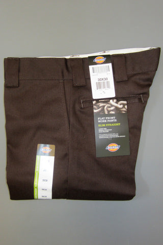 Dickies Wp873 Slim Straight Work Pant Chocolate Brown