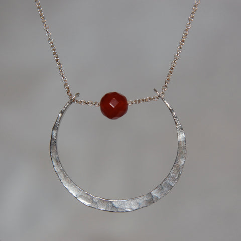 Luna Pendant with faceted Carnelian bead, on textured sterling silver with gold-filled chain