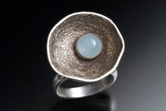 Aquamarine Cocktail Ring Set in Oxidized and Etched Sterling Silver
