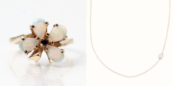 heirloom vintage opal cocktail ring, redesigned into delicate opal necklace