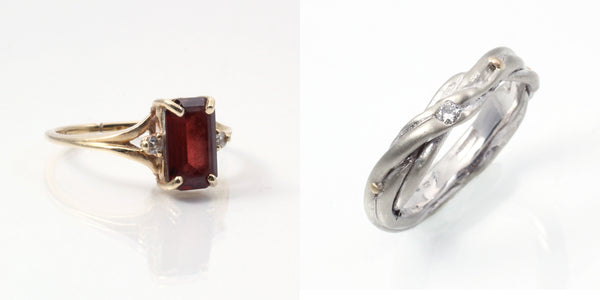before and after, heirloom redesign, recycled jewelry