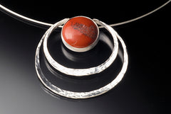 Recycled sterling silver pendant with red jasper made in Chicago