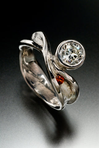 Recycled 14k white gold with ethically sourced diamond and garnet