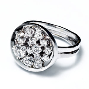 Recycled heirloom diamonds set in recycled 14k white gold handmade in Chicago