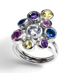 gemstone cumulus cocktail ring