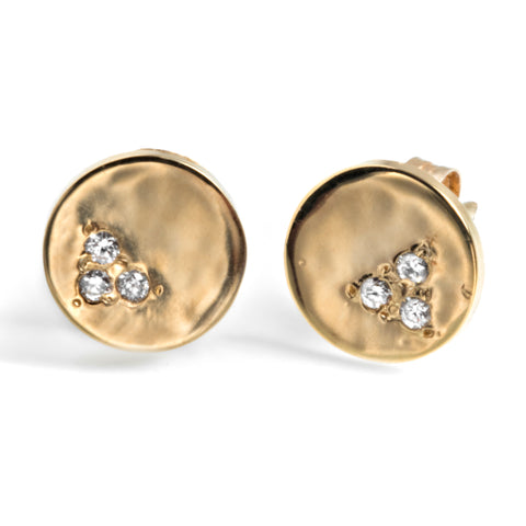 Small meteor studs 14k yellow gold with diamonds ecoconscious green practices
