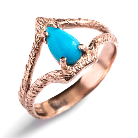 pear split shank turquoise custom jewelry wedding ring 14k rose gold