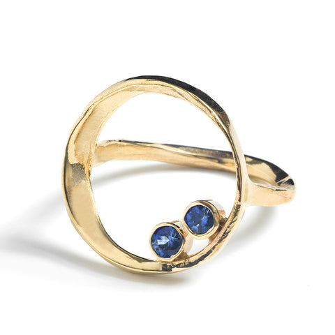 14k Gold Solstice Ring with Sapphires