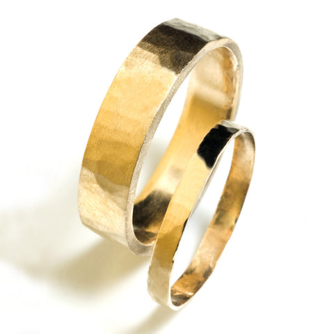 3mm Flat Hammered Wedding Band