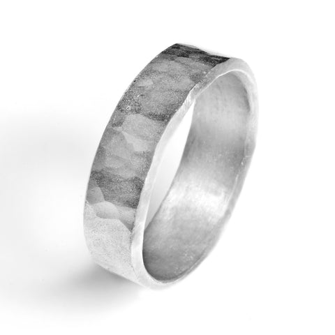 7mm Flat Beveled Hammered Comfort Fit Wedding Band