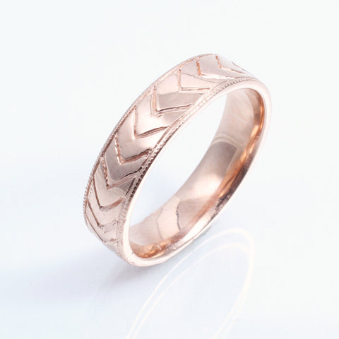 Milgrain Chevron Wedding Band