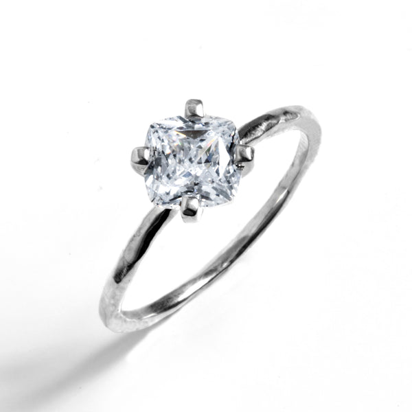 Cushion Cut Hammered Prong Solitaire Engagement Ring
