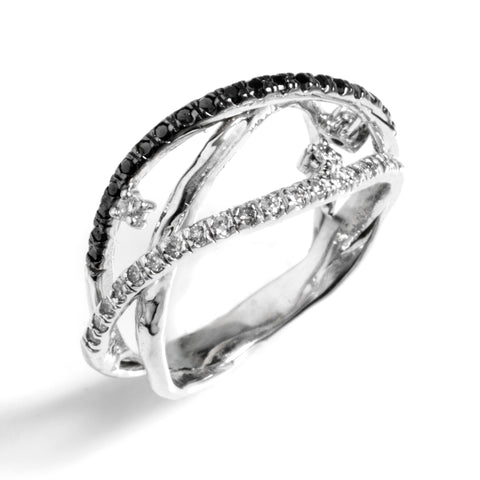 Helix Ring with White Gold with Diamonds