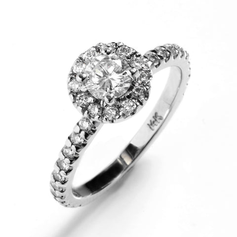 French Pavé Halo Engagement Ring