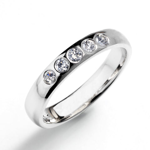 Half Round Band with Diamonds