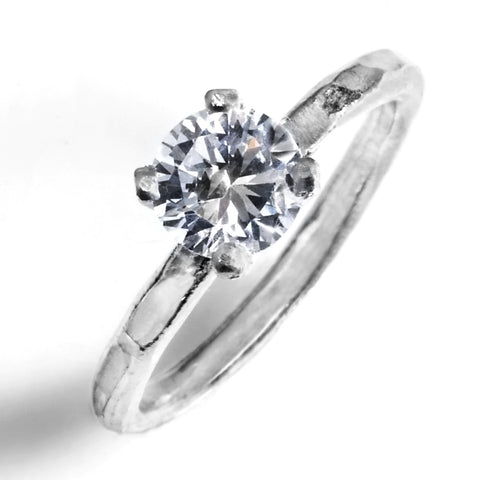 Hammered Prong-Set Solitaire Engagement Ring