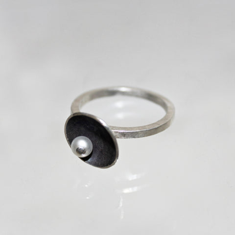 Satellite Ring with Pearl