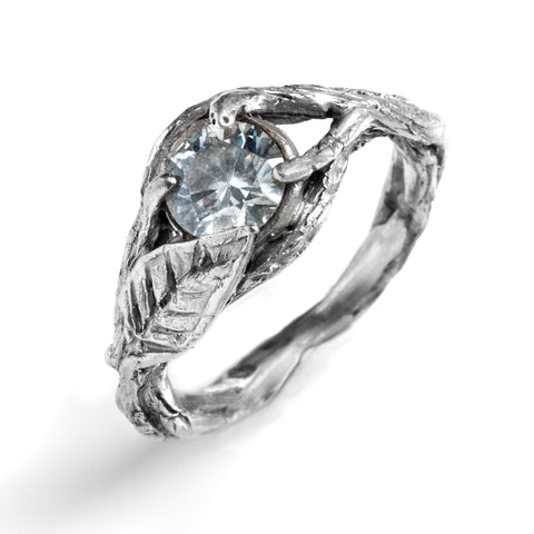 Prong Set Nesting Engagement Ring with Leaf