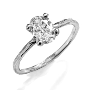 Oval Solitaire Hammered Prong
