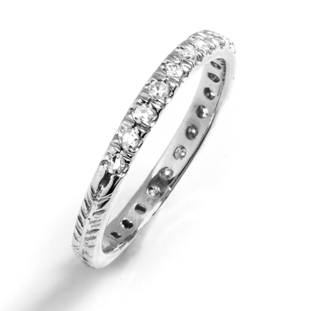 Pavé Eternity Band with Chevron Texture