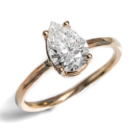 Pear Solitaire Hammered Prong Diamond 14k Yellow Gold Rebecca Zemans