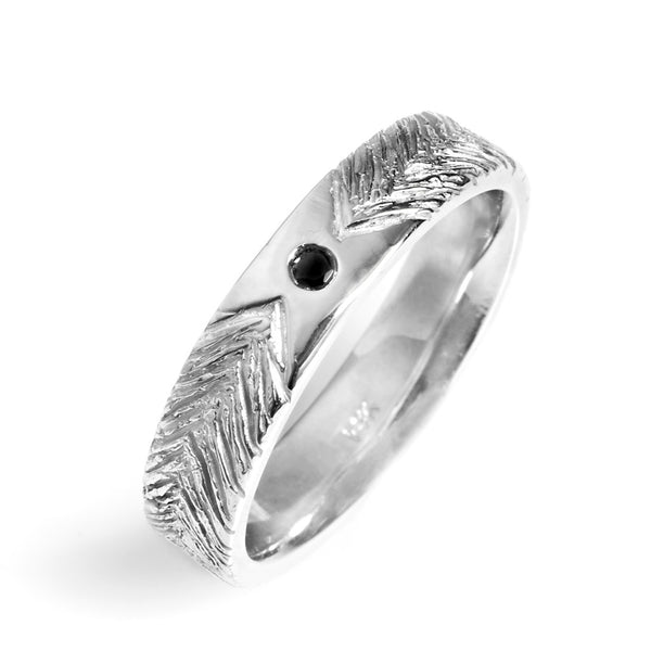 Feather Chevron Wedding Band with Diamond