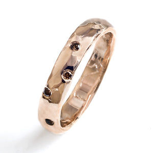 Hammered Starburst Wedding Band