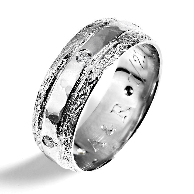 platinum and diamond mens textured three band wedding ring - Three Band Wedding Ring