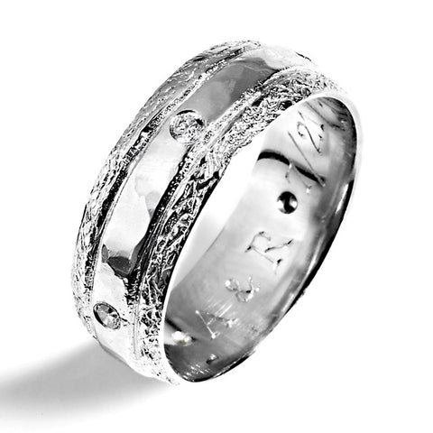 14k white gold engraved ring with diamonds handmade in Chicago